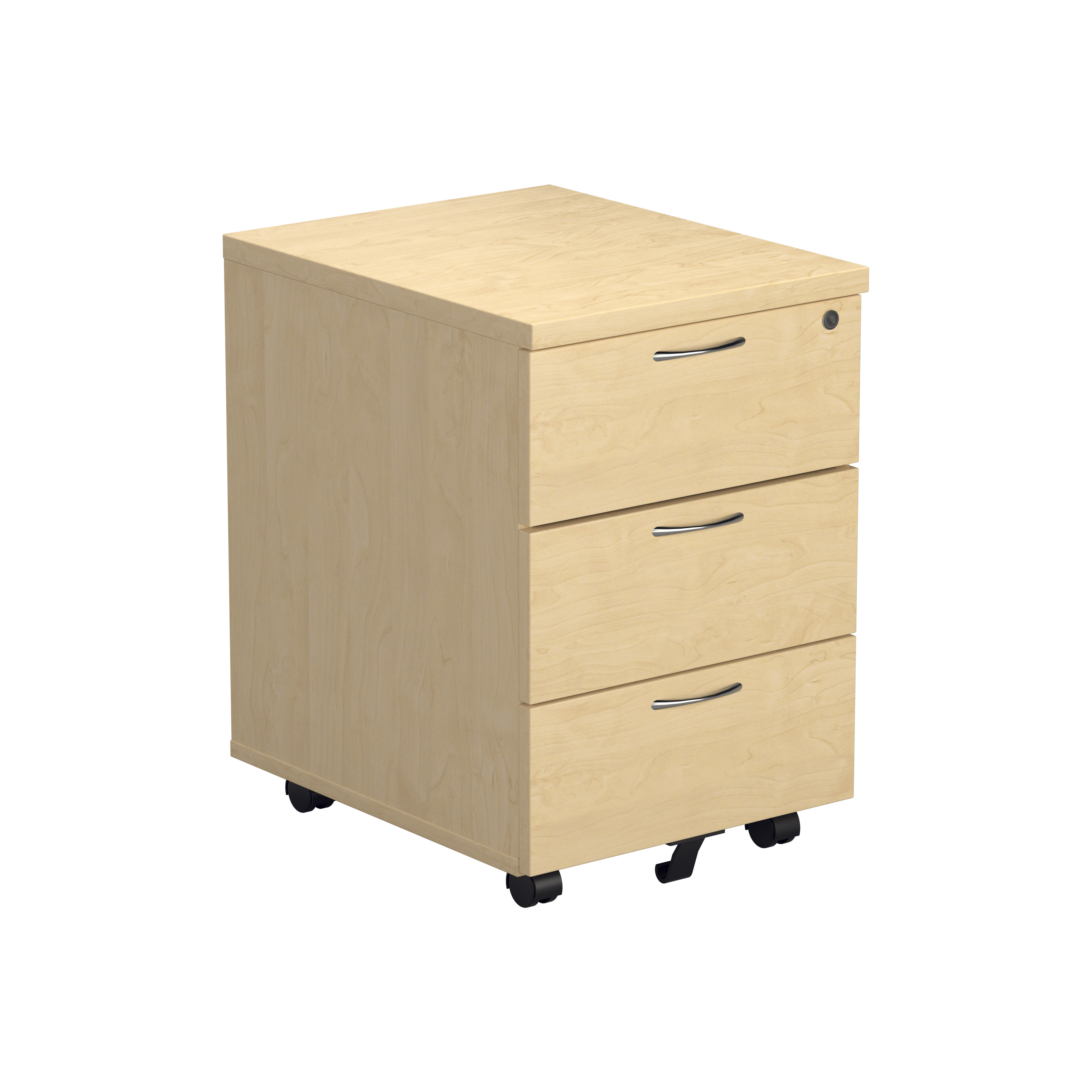 3 Drawer Mobile Pedestal - Maple