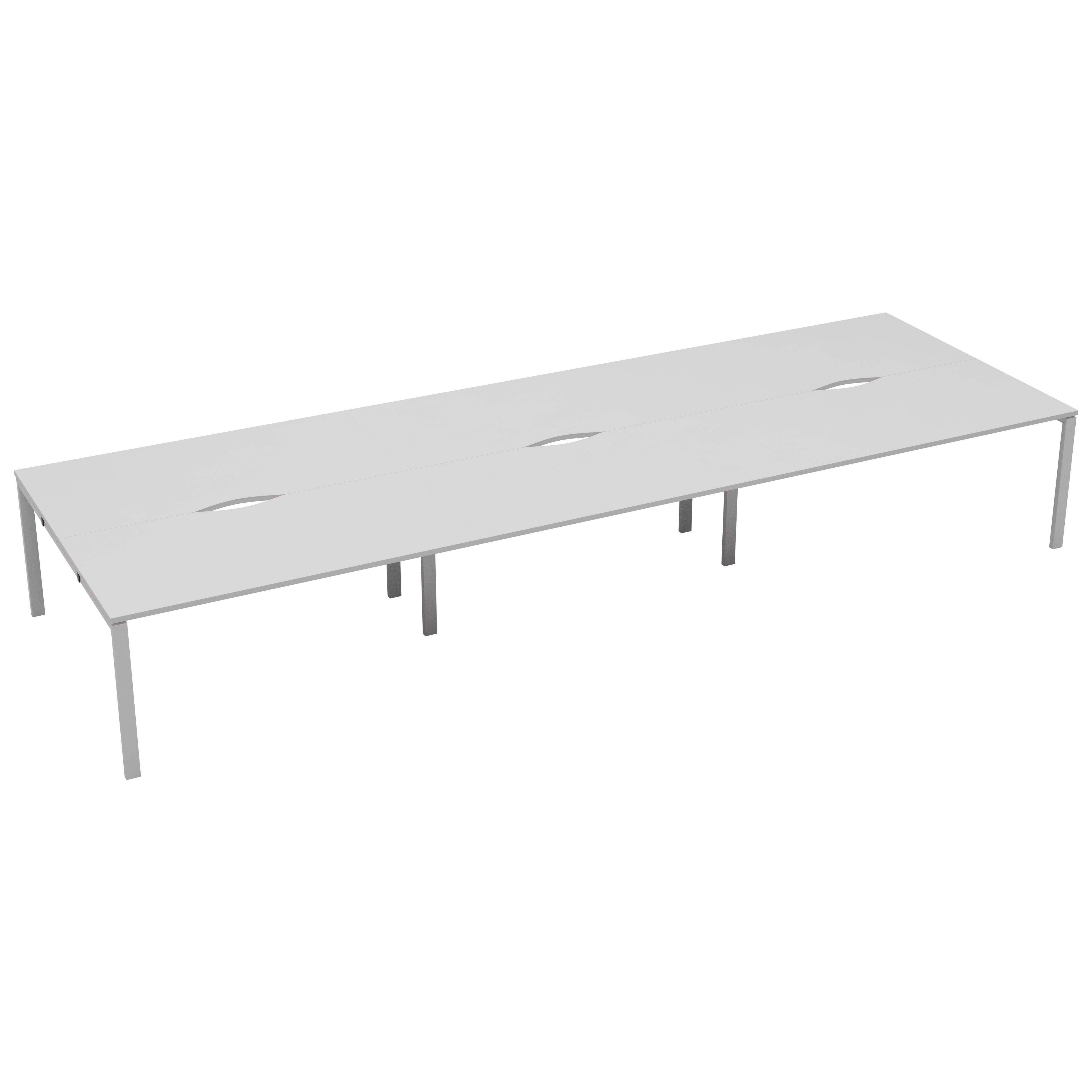 6 Person Bench 1200 x 800 - Pod of 6 Desks - White Top and White Legs